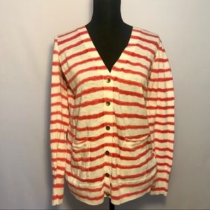 Striped Lucky Brand Button Up V Neck Cardigan